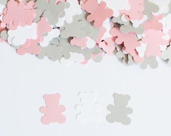 Teddy Bear Confetti,  Teddy Bear Baby Shower Decor, Baby Shower Confetti, Pink and Gray