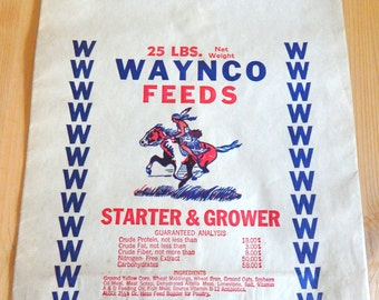 Unused 25 lb Vintage Paper Feed Sack Waynco Feeds Great Graphics