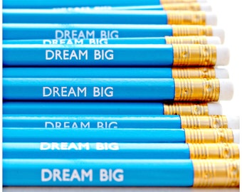 DREAM BIG Pencil - Stationery - Present - Stocking Stuffer - Party Favours - Gift - Foil Print - Engraved - Luxury  - Goals Inspire Motivate