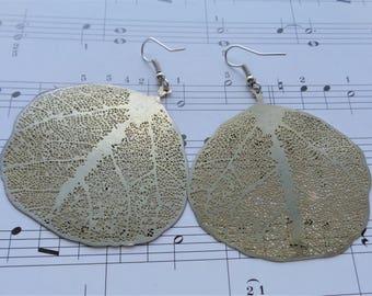 Golden Leaves Earrings, Gold Earrings, Yellow Gold Dangle Earrings, Girls Earrings, Woman's Earrings, Statement Earrings, Big Gold Earrings