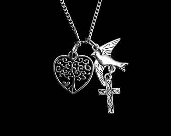 Tree of life charm necklace, tree in heart with bird and cross in antique silver, for God so loved the world, John 3:16, scripture, Sale