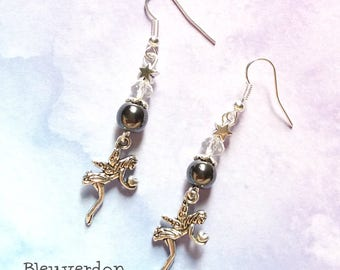 Dangling fairy and Hematite earrings