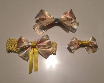 Beautiful Fox and Owls hairbow set.  3 piece set!
