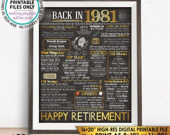"""Retirement Party Decorations, Back in 1981 Poster, Flashback to 1981 Retirement Party Decor, Chalkboard Style PRINTABLE 16x20"""" Sign <ID>"""