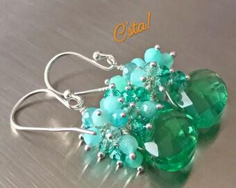 Teal Green Quartz Earrings with Amazonite, Apatite & Blue Topaz