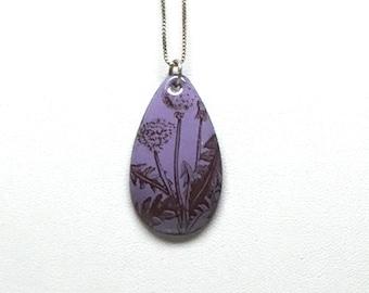 Purple Dandelion Enamel Teardrop Necklace