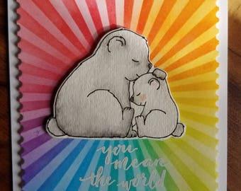 Bear card, sweet, love, rainbow, you make the world a better place,