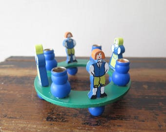 Vintage Christmas Candle Holder Advent Decor w Folk Figurines Table Centerpiece Round Footed Wooden Candle Holder for 4 Candles @224