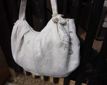 Large zipped bag xxl rounded and soft cotton and linen