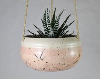Handmade Ceramic Hanging Planter / Spatter Pattern Planter / Blush Pink Plant Pot / Indoor Hanging Planter / Made in Canada Pottery