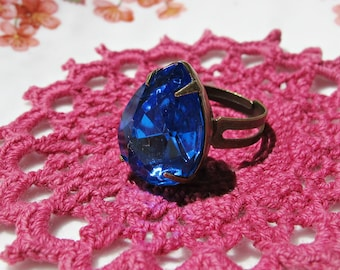 Sapphire Blue Cocktail Ring - Estate Style Vintage Glass Teardrop - Pear Jewellery Jewelry For Women Pinky