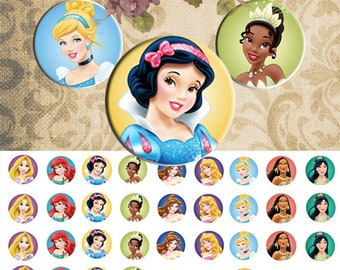 Princesses  and Hello Kitty  - 1/2 inch or 12 mm Images 2 sheets 4x6 Digital Collage INSTANT DOWNLOAD