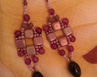 Earrings window beaded, opaque lustre pink, agate, ancient Boho earrings