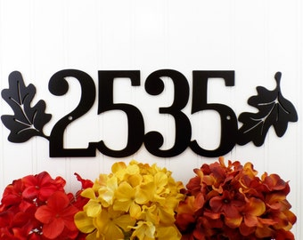 Custom Outdoor House Number Metal Sign with Oak Leaves - 4 Digit, Black, 17.85x5.25,  Address Plaque, Outdoor Sign