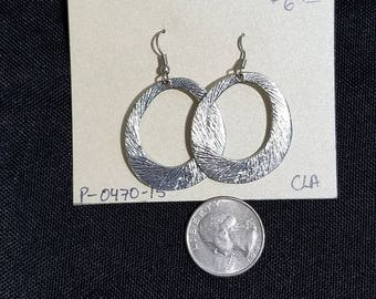 Vintage Earrings- silver ear wire dangle hoops