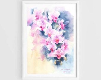 """Original watercolor, orchid flower, flower painting,7""""x9"""",aquarelle originale,garden,home decor"""