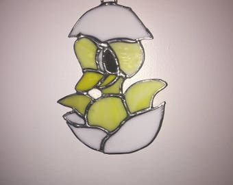 Baby chick in stained glass
