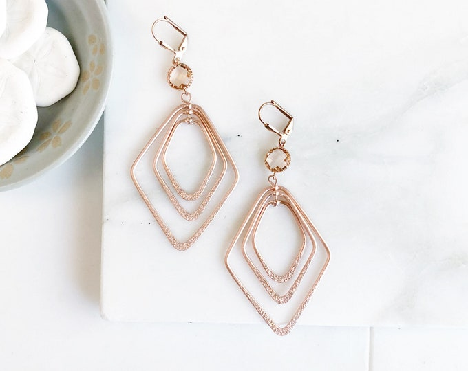 Rose Gold Statement Earring. Long Rose Gold Earrings with Champagne Stones. Rose Gold Earrings. Rose Gold Jewelry. Gift.