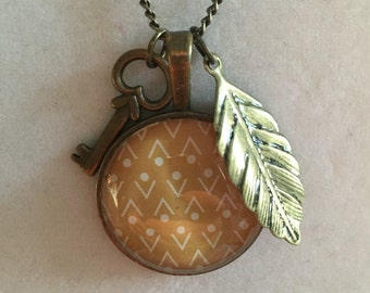 Key and Leaf Pendant Necklace