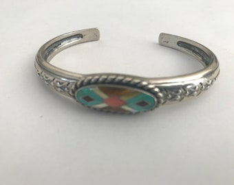 Designer Carolyn Pollack Relios Sterling Silver 925 Southwestern Turquoise Coral Multi Stone Inlay Cuff Bangle Bracelet Signed Marked CR 925