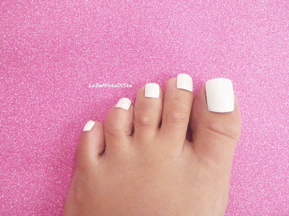 hand painted full toe false nails white baby fake nails wedding tips ...