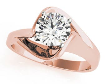 0.70 Carat Total Weight Solitaire Swirl Split Band Engagement Ring in Rose Gold