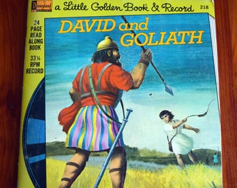 David and Goliath/a Little Golden Book & Record/Disneyland Records/33 1/3 RPM Record/24 page read along book/Barbara Shook Hazen/Robert Lee