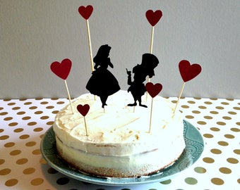 Alice in Wonderland Cake Topper Set, Alice in Wonderland Party Supplies, Alice in Wonderland Party Decor