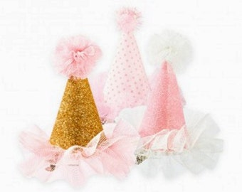 Mini Party Hats that clip on- Set of 3