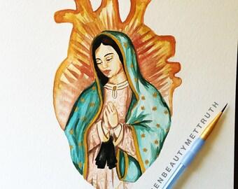 Virgin of Guadalupe Heart/ Watercolor/ Art Print/ Anatomical Heart/ Illustration