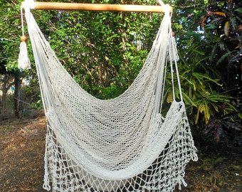 Large cotton hammock chair for indoor or outdoor use. Fast shipping.