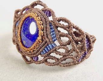 Macrame Bracelet, Lapis Lazuli, Brown, Blue and Purple, Boho Bracelet
