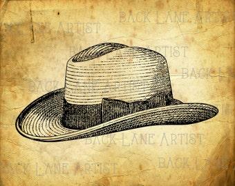 Vintage Hat Clipart Lineart Illustration Instant Download PNG JPG Digi Line Art Image Drawing La40