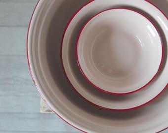 Set of 3 Enamel Bowls | Pink & Red