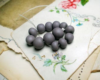Polymer Clay Beads - Maker's Dozen no. 3 - 13 Rustic Dusty Lavender Grey Beads - Round, Rondelle - 9mm -13mm -  Graduated Spacers, Pairs Set