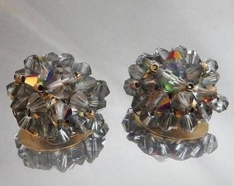 SUPER SALE Vintage Smoky Gray Beaded Earrings. Aurora Borealis Crystals. Wedding. Bride