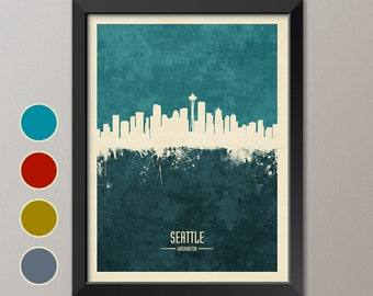 Seattle Skyline, Seattle Cityscape Washington, Watercolor Art Print Poster (4235)