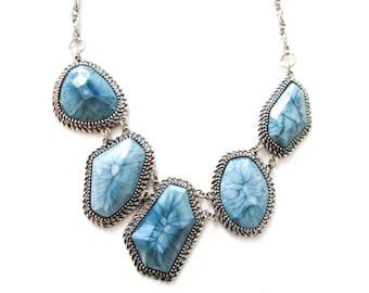 Blue Statement Necklace with Vintage Chain Geometric Jewelry