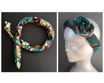 Headband hairband padded memory - adjustable and reversible patchwork wax #1