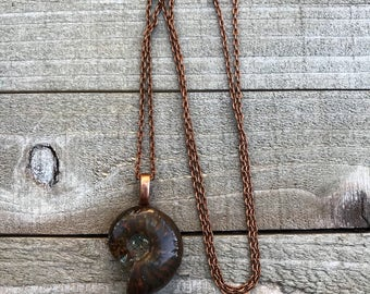 Red Fire Ammonite Necklace