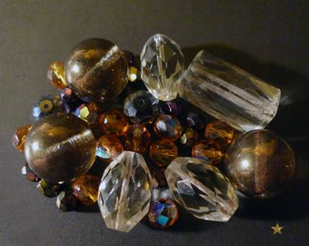 Various shapes, set of 31 pieces Czech crystal glass beads
