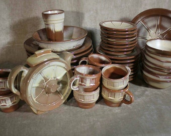 Huge Set Frankoma Pottery Wagon Wheel