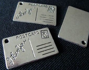 Destash (4) I Love You Post Card Postcard Stamp Charms - for pendants, jewelry making, crafts, scrapbooking