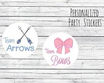 Team Arrows and Team Bows Gender Reveal Party Stickers Team Boy, Team Girl, Baby Shower Voting, Favor Tags, Labels, You Choose Size