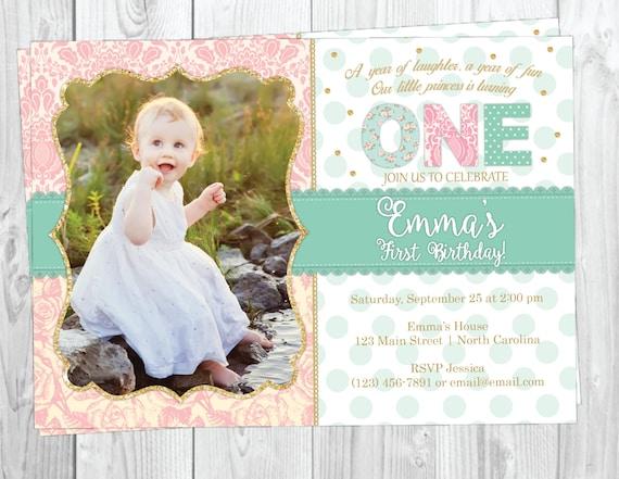 First Birthday Invitation With Photo- Shabby Chic Lace Invite - 1st Birthday Invitation - Princess