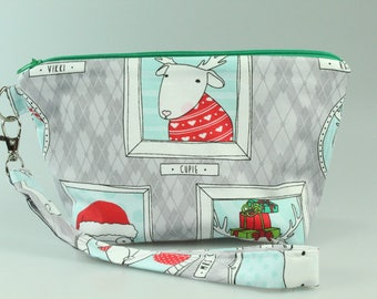 Christmas Pictures Zip Bag/ Pouch with Wrist Strap