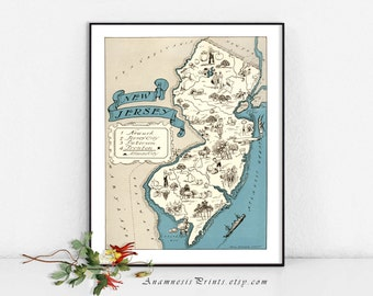 NEW JERSEY MAP - vintage pictorial map print - size & color choices - gift idea for many occasions - coastal art print - map wall art