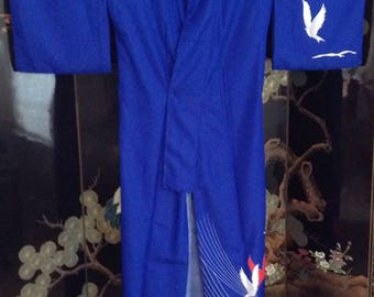 Lightweight Royal Blue Vintage Japanese Kimono; white and red dove designs