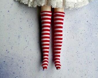 Red Medium Stripe Blythe Socks