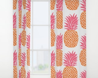Amazing Pineapple Pattern WINDOW CURTAINS Decorative House Home Art Decor Gift  Drapes Treatment Bright Orange Citrus Hot